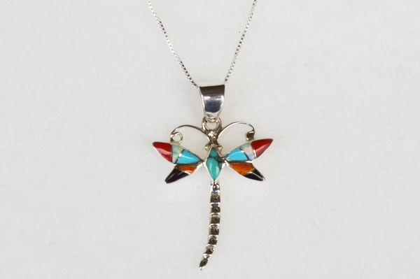 "Sterling silver multi color inlay dragonfly pendant with sterling silver 18"" box chain. N045"