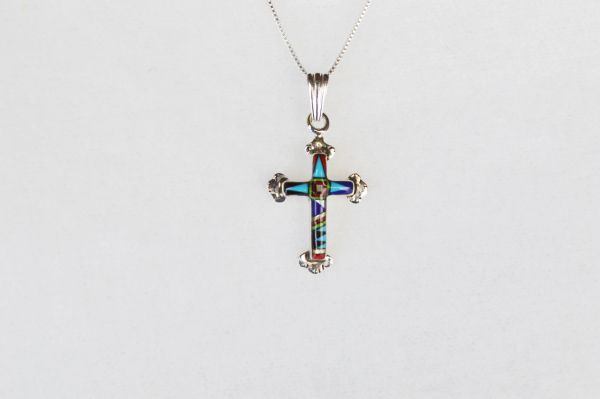 "Sterling silver multi color inlay cross with flair tips pendant and sterling silver 18"" box chain. N046"
