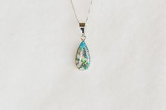 """Sterling silver white opal, blue opal and pink opal teardrop pendant with 18"""" sterling silver box chain. N054."""