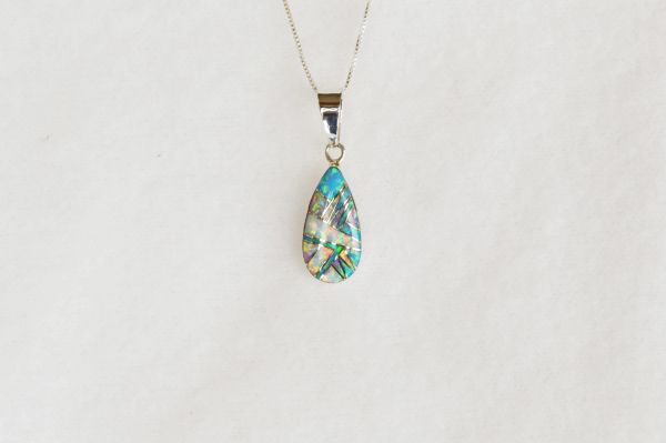 "Sterling silver white opal, blue opal and pink opal teardrop pendant with 18"" sterling silver box chain. N054."