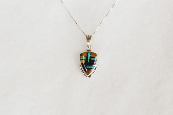 "Sterling silver blue opal, black onyx and tiger eye arrowhead pendant with 18"" sterling silver box chain. N055."