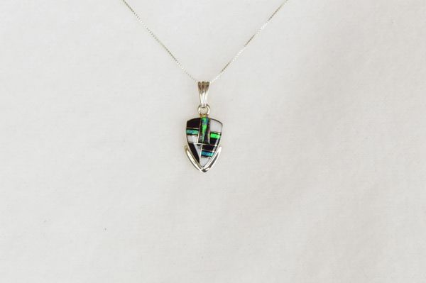 "Sterling silver blue opal, black onyx and howlite arrowhead pendant with 18"" sterling silver box chain. N056."