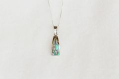 """Sterling silver white, blue and pink opal triangle pendant with sterling silver 18"""" box chain. N057."""