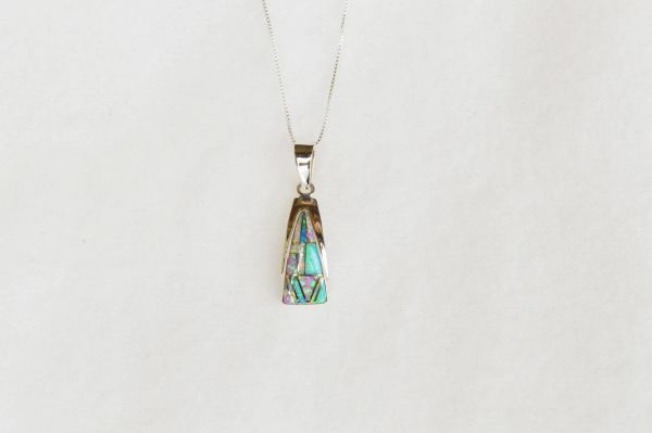 "Sterling silver white, blue and pink opal triangle pendant with sterling silver 18"" box chain. N057."