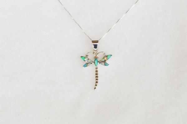 "Sterling silver white, blue and pink opal dragonfly pendant with sterling silver 18"" box chain. N058."