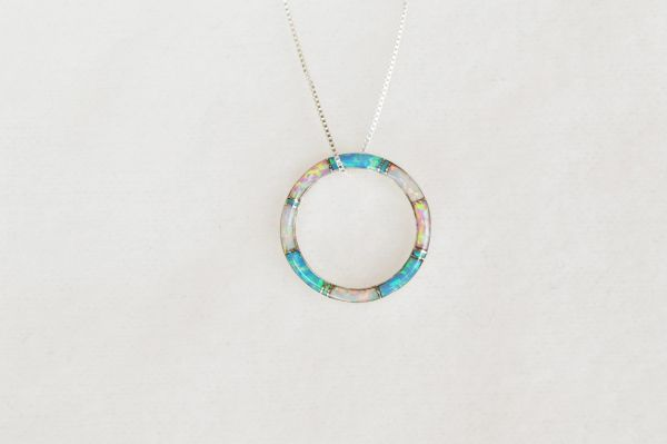 "Sterling silver white, blue and pink opal inlay hoop pendant with sterling silver 18"" box chain. N060."