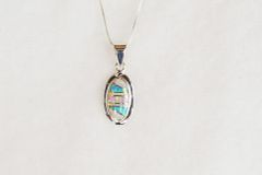 """Sterling silver white, blue and pink opal inlay oval pendant with sterling silver 18"""" box chain. N062."""