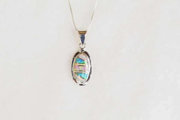 "Sterling silver white, blue and pink opal inlay oval pendant with sterling silver 18"" box chain. N062."