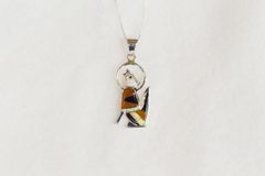 "Sterling silver white opal, black onyx and tiger eye inlay coyote pendant with sterling silver 18"" box chain. N064."