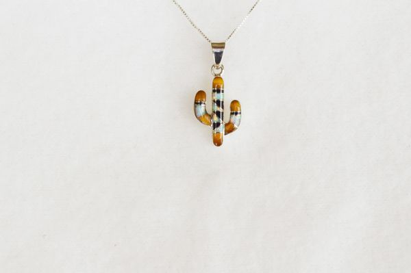 "Sterling silver white opal, tiger eye and black onyx inlay cactus pendant with sterling silver 18"" box chain. N071."