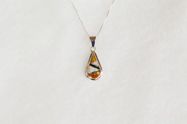"Sterling silver white opal, tiger eye and black onyx inlay teardrop pendant with sterling silver 18"" box chain. N072."