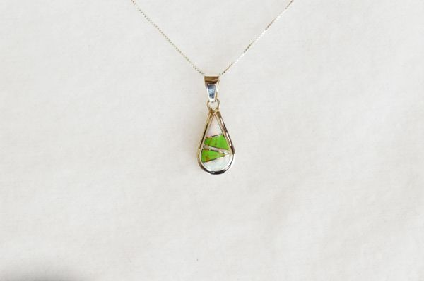 "Sterling silver white opal and gaspeite inlay teardrop pendant with sterling silver 18"" box chain. N093."