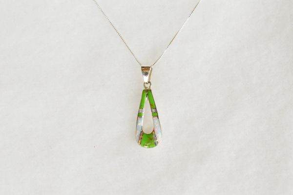 "Sterling silver white opal and gaspeite inlay hollow teardrop pendant with sterling silver 18"" box chain. N094."