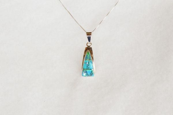 "Sterling silver blue opal inlay triangle pendant with sterling silver 18"" box chain. N099."