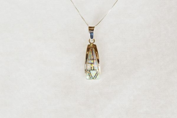 "Sterling silver white opal inlay triangle pendant with sterling silver 18"" box chain. N100."