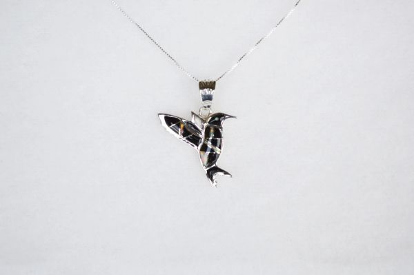 "Sterling silver black onyx inlay hummingbird pendant with sterling silver 18"" box chain. N102."