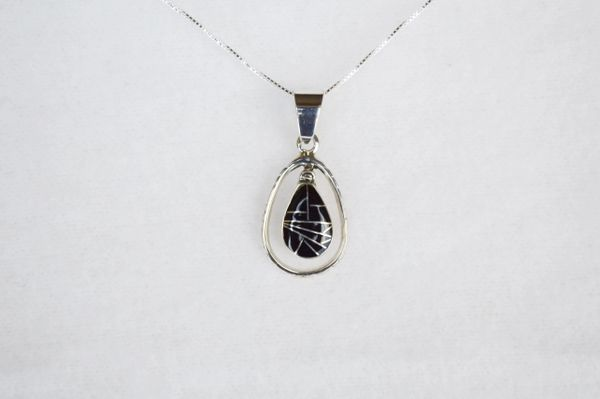 "Sterling silver black onyx inlay teardrop in hoop pendant with sterling silver 18"" box chain. N104."