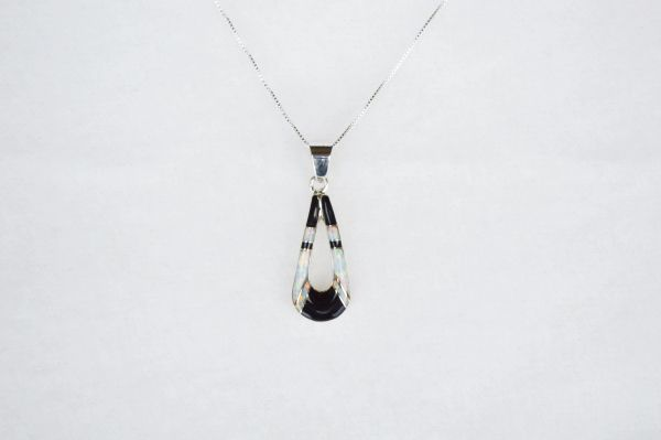 "Sterling silver white opal and black onyx inlay hollow teardrop pendant with sterling silver 18"" box chain. N105."
