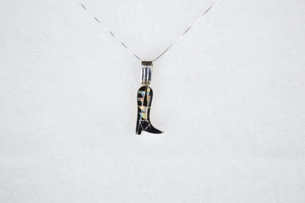 "Sterling silver white opal and black onyx inlay cowboy boot pendant with sterling silver 18"" box chain. N106."