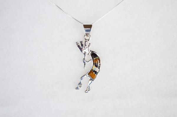 "Sterling silver white opal, tiger eye and black onyx inlay kokopelli pendant with sterling silver 18"" box chain. N107."
