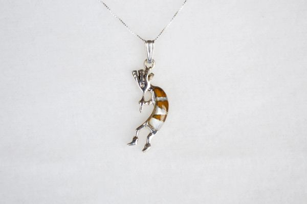 """Sterling silver mother of pearl and tiger eye inlay kokopelli pendant with sterling silver 18"""" box chain. N109."""