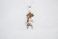 "Sterling silver mother of pearl and tiger eye inlay kokopelli pendant with sterling silver 18"" box chain. N111."