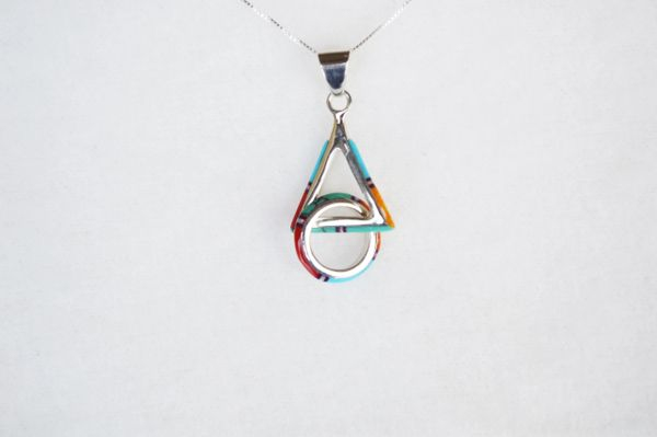 "Sterling silver multi color inlay hoop in triangle pendant with sterling silver 18"" box chain. N112."