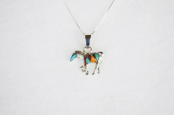 """Sterling silver multi color inlay horse pendant with sterling silver 18"""" box chain. N113."""