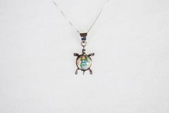 """Sterling silver white pink and blue opal inlay turtle pendant with sterling silver 18"""" box chain. N119."""