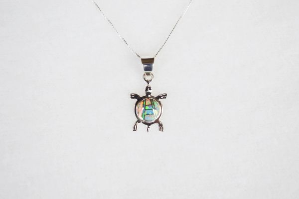 "Sterling silver white pink and blue opal inlay turtle pendant with sterling silver 18"" box chain. N119."