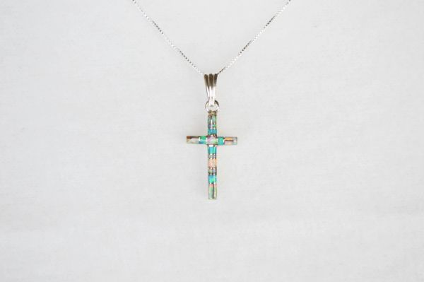 "Sterling silver white pink and blue opal inlay cross pendant with sterling silver 18"" box chain. N120."