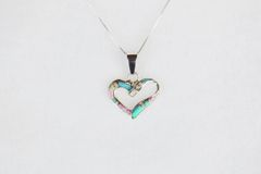 """Sterling silver white pink and blue opal inlay heart pendant with sterling silver 18"""" box chain. N124."""