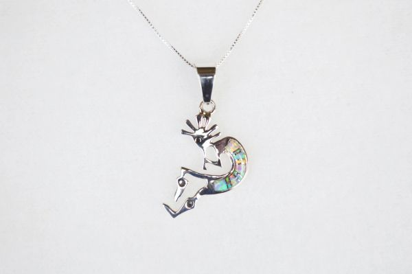 "Sterling silver white pink and blue opal inlay kokopelli pendant with sterling silver 18"" box chain. N125."
