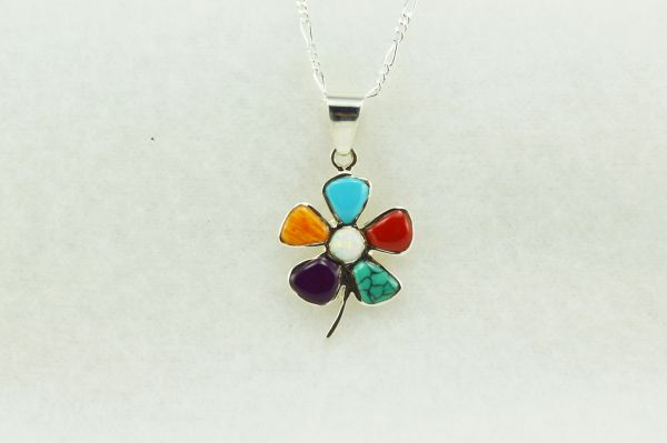 "Sterling silver multi color flower pendant with sterling silver figaro 18"" chain. N134."