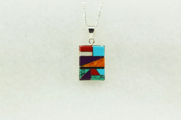 "Sterling silver multi color inlay rectangle pendant with sterling silver figaro 18"" chain. N136."