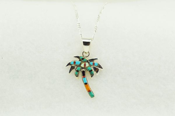 "Sterling silver multi color inlay palm tree pendant with sterling silver figaro 18"" chain. N139"
