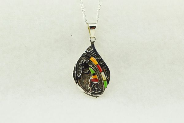 "Sterling silver multi color inlay kokopelli pendant with sterling silver figaro 18"" chain. N140"