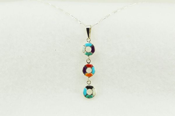 "Sterling silver multi color inlay 3 circle link pendant with sterling silver 18"" figaro chain. N146"