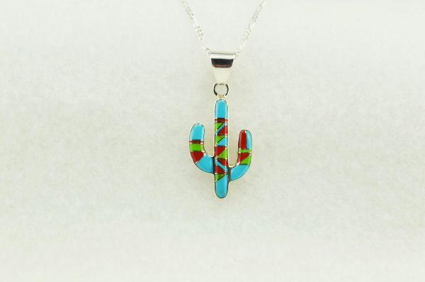 "Sterling silver multi color inlay cactus pendant with sterling silver 18"" figaro chain. N150"