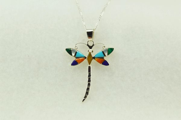 "Sterling silver multi color inlay dragonfly pendant with sterling silver 18"" figaro chain. N158"