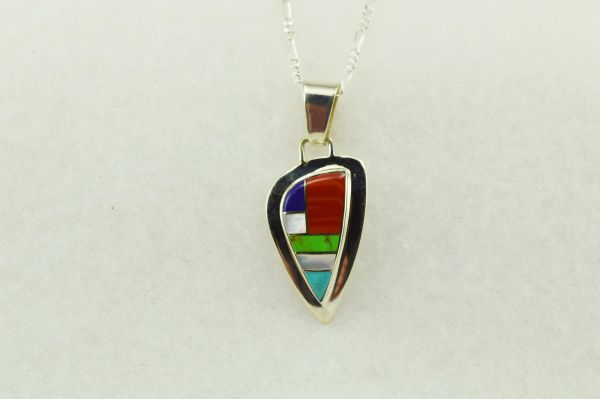 "Sterling silver multi color pick shaped pendant with sterling silver 18"" figaro chain. N161"