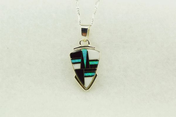 """Sterling silver howlite, black onyx and blue opal arrowhead with sterling silver 18"""" figaro chain. N169"""