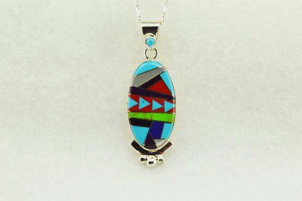 "Sterling silver multi color inlay oval pendant with sterling silver 18"" figaro chain. N170"