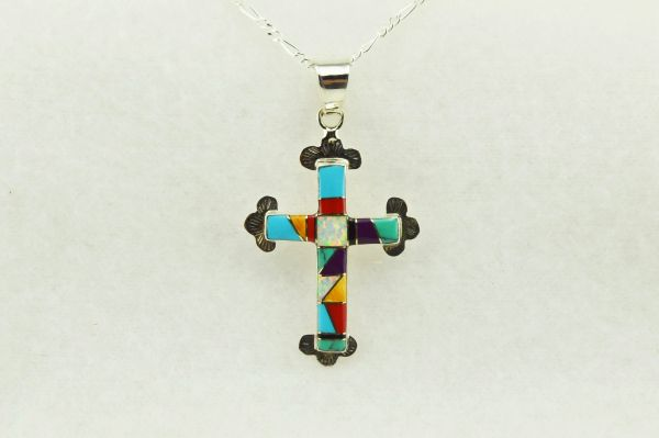 """Sterling silver multi color inlay cross pendant with sterling silver 18"""" figaro chain. N176"""