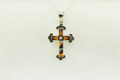 "Sterling silver multi color inlay cross pendant with sterling silver 18"" figaro chain. N182"