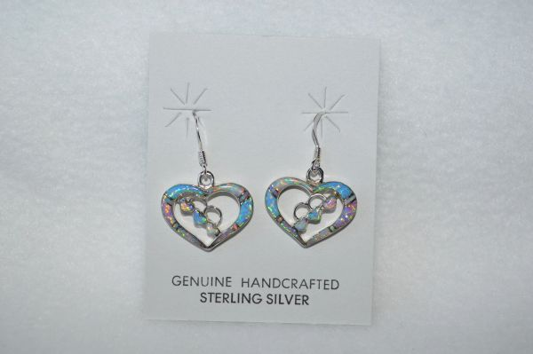 Sterling silver blue, pink and white opal inlay 3 heart in a heart dangle earrings. E147