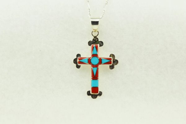 "Sterling silver turquoise and coral inlay cross pendant with sterling silver 18"" figaro chain. N184"