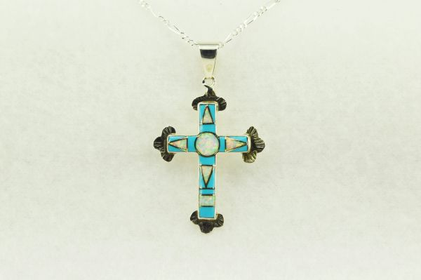 "Sterling silver turquoise and white opal inlay cross pendant with sterling silver 18"" figaro chain. N185"