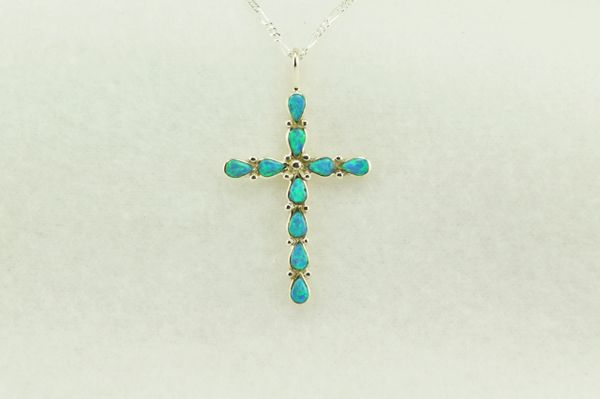 """Sterling silver blue opal cross pendant with sterling silver 18"""" figaro chain. N189"""