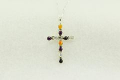 "Sterling silver multi color cross pendant with sterling silver 18"" figaro chain. N193"
